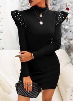 Solid Perlebrodering Bodycon Lange ærmer Mini Den lille sorte Party Elegant Mode kjoler