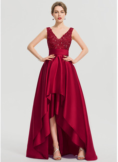 A-Line V-neck Asymmetrical Satin Evening Dress With Ruffle Sequins