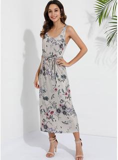 Floral Print A-line Sleeveless Maxi Boho Casual Vacation Skater Dresses