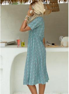Print Kjole med A-linje Korte ærmer Midi Casual Ferie skater Mode kjoler