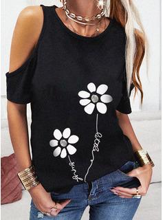 Figure Floral Print Cold Shoulder Short Sleeves Casual Blouses