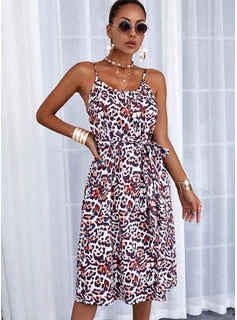 Leopardo Vestido línea A Sin mangas Midi Casual Patinador Tipo Vestidos de moda