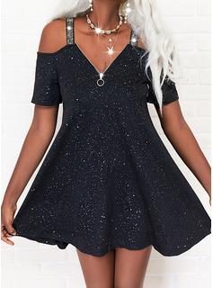 Print Shift Short Sleeves Mini Little Black Casual Tunic Dresses