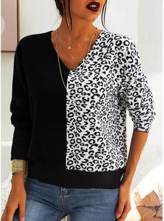 Scollatura a V Casuale leopardo Blocchi di colore Maglioni