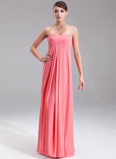 Empire Sweetheart Floor-Length Chiffon Evening Dress With Ruffle