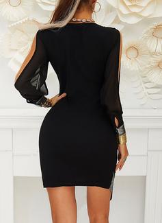 Paljetter Åtsittande Långa ärmar Split Ärmar Mini Den lilla svarta Party Sexig Modeklänningar