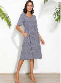 Medium rund hals Polyester Print Korte ærmer Mode kjoler