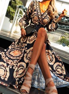 Druck A-Linien-Kleid Lange Ärmel Maxi Party Jahrgang Bolero Modekleider
