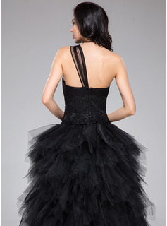 A-Line One-Shoulder Asymmetrical Tulle Prom Dresses