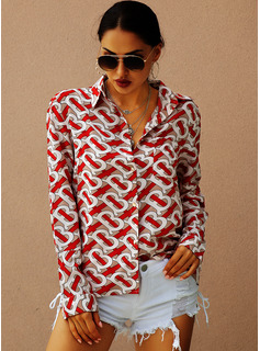 Print Long Sleeves Polyester Lapel Shirt Blouses Blouses