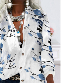 Floral Impresión Cuello en V Manga Larga Casual Camisas Blusas