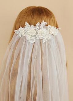 Jednowarstwowe Bez lamówki Welony do końca dloni Z Satynowy Kwiat/Faux Pearl