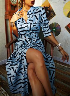 Imprimé Robe trapèze Manches Longues Maxi Décontractée Chemise Patineur Robes tendance