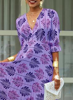 Maxi V neck Polyester Print 1/2 Sleeves Fashion Dresses
