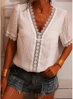 Lace Solid V-Neck Puff Sleeves Short Sleeves Casual