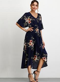 Floral Impresión Vestido línea A Mangas 1/2 Asimétrico Casual Vestidos de moda
