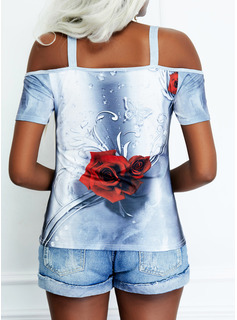 Animal Print Floral Cold Shoulder Short Sleeves Casual Blouses