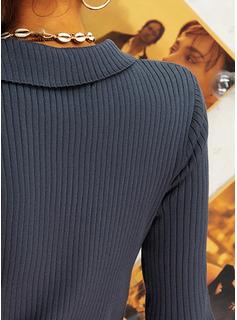 Rund-ringning Fritids Solid Tröjor