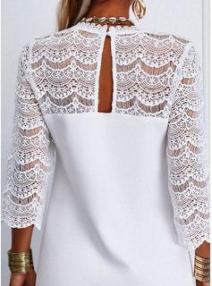 Blonder Solid Skiftekjoler 3/4 ærmer Mini Casual Tunika Mode kjoler