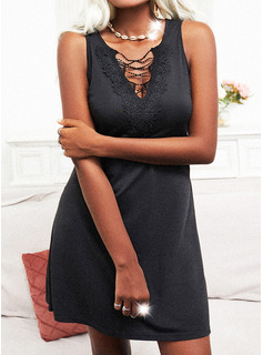 Lace Solid Sheath Sleeveless Mini Little Black Casual Dresses