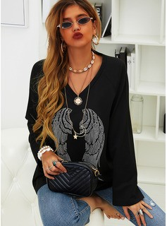 Print Sequins V-Neck Long Sleeves Casual T-shirt