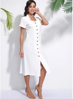 Midi Cuello de camisa poliéster Botones/Sólido Manga corta Vestidos de moda