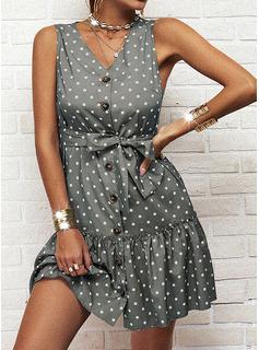Lunares Vestido línea A Sin mangas Mini Casual Patinador Vestidos de moda