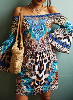 Leopard Print Shiftklänningar Flare Ärm Långa ärmar Mini Fritids Semester Tunika Modeklänningar
