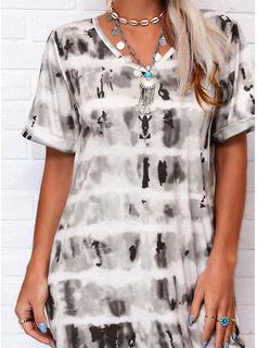 Tie Dye Coupe droite Manches Courtes Midi Décontractée T-shirt Robes tendance