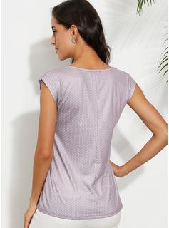 Gepunktet Kurze Ärmel Polyester Rundhals T-shirt Blusen