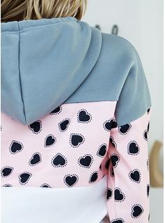 Blocchi di colore Stampa Con Cappuccio Maniche lunghe Casuale Camicie