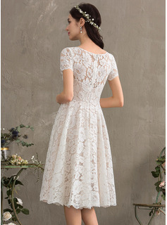 A-Line Scoop Neck Knee-Length Lace Wedding Dress
