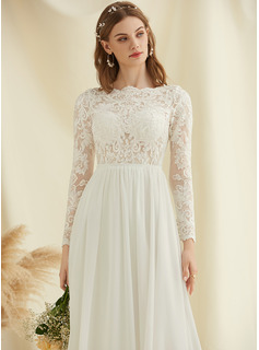 A-Line Scoop Neck Floor-Length Chiffon Lace Wedding Dress With Sequins
