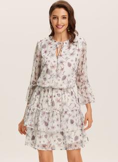 Blomster Print Kjole med A-linje 3/4 ærmer Mini Casual skater Mode kjoler