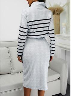 Rand Åtsittande Långa ärmar Midi Elegant Penna Modeklänningar
