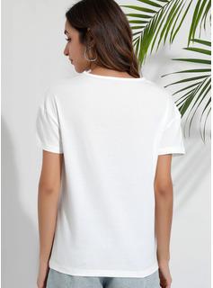Lace Einfarbig Kurze Ärmel Polyester V-Ausschnitt Blusen