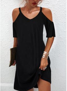 Sólido Vestidos sueltos Mangas 1/2 Mini Pequeños Negros Casual Túnica Vestidos de moda