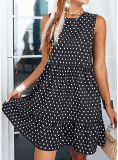 Lunares Vestidos sueltos Sin mangas Mini Casual Vestidos de moda