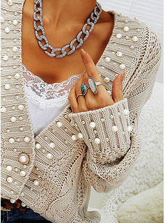 V-Neck Casual Beaded Solid Cable-knit Sweaters
