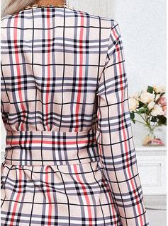Tela escocesa Cubierta Mangas 1/2 Mini Casual Bolero Vestidos de moda