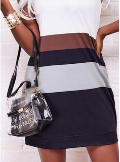 Trozos de color Vestidos sueltos Sin mangas Mini Casual Vestidos de moda