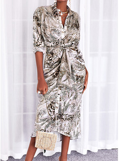 Print Sheath 3/4 Sleeves Maxi Casual Shirt Dresses
