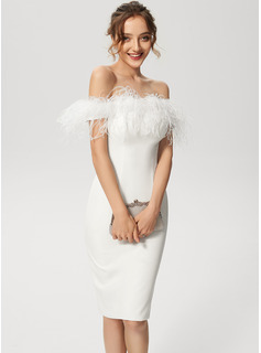 Sheath/Column Off-the-Shoulder Knee-Length Stretch Crepe Cocktail Dress With Feather