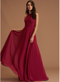 A-line Round Neck Sleeveless Maxi Back Details Romantic Sexy Dresses