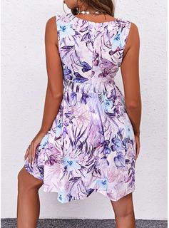 Floral Impresión Vestido línea A Sin mangas Mini Elegante Patinador Vestidos de moda