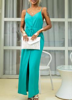 Einfarbig A-Linien-Kleid Ärmellos Maxi Lässige Kleidung Urlaub Typ Modekleider
