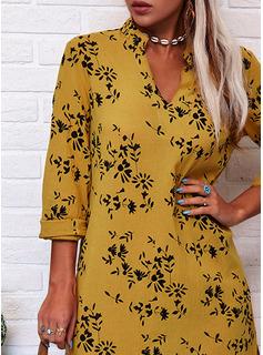 印刷 シフトドレス 長袖 マキシ カジュアル ファッションドレス