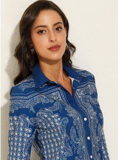 Print Long Sleeves Polyester Lapel Shirt Blouses Blouses