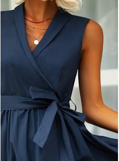 Solid A-linjeklänning Ärmlös Midi Party Elegant skater Bolerojackor Modeklänningar