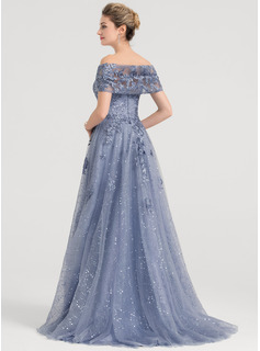 A-Line/Princess Off-the-Shoulder Sweep Train Tulle Prom Dresses With Sequins